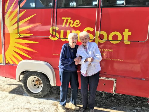 The weather has been very cold so we rented the Sun Spot Bus for the residents and staff! Connie and Judy the first to get on!!