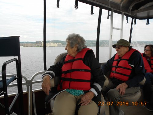 Virginia and Gene enjoy the view on the St. Louis River Experience.