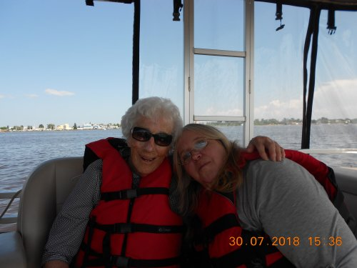 Dorothy and Cindy enjoying a great day on the lake.