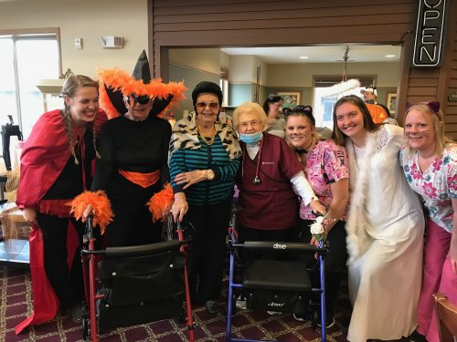 Staff and residents having fun at our Halloween Party!