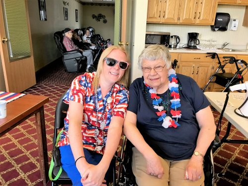 Norma and Jen have the Red white and Blue spirit!!