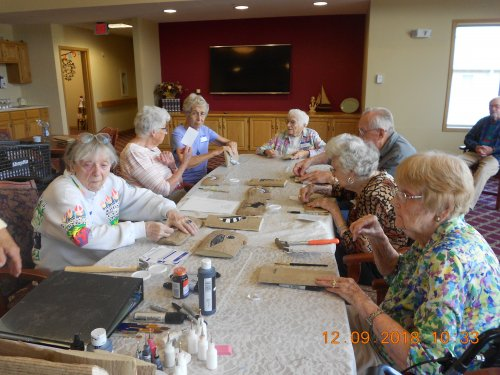 Liz, Petey, Mary, Jane, Ray, Patsy & Lilah Learning to Paint on Slab Wood.
