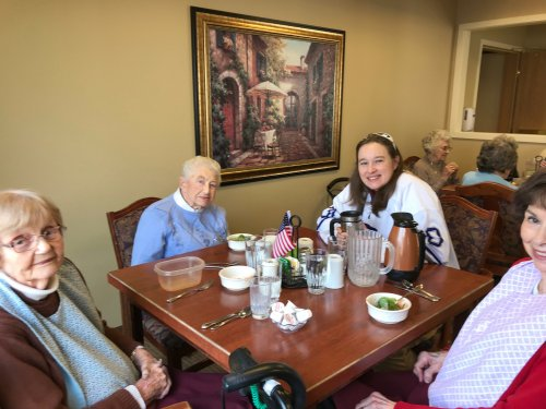 Veteran Amy having lunch with the ladies for Veterans Day