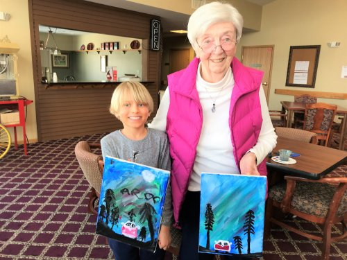 Nice way to spend the afternoon in painting class today Connie and her Great grandson!