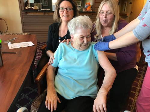Teri our DON and Cindy our LEC joking with Shirley while she got her Flu Shot.