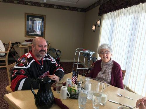 Veteran Mark enjoying Veterans lunch with Petey