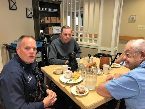 Gary and Owen got to eat lunch with the Captain from Fire Hall #7