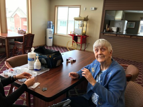 Mabel getting her Hearing Aids checked By Hearing Associates.
