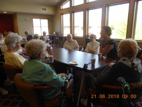 Morning Social with Mayor Emily Larson and residents on the Longest Day of the Year.