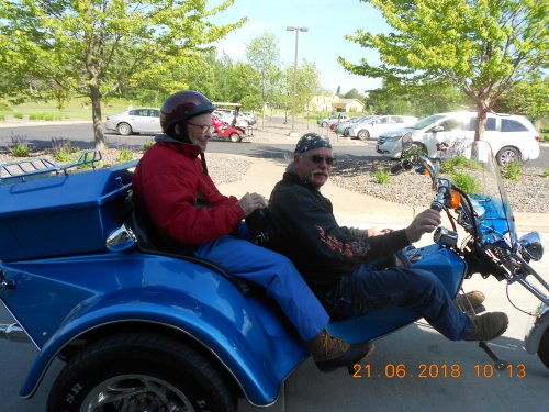 Bob our Maintenance Man giving Eldon a ride on his motorcycle. Bob keeping his promise!