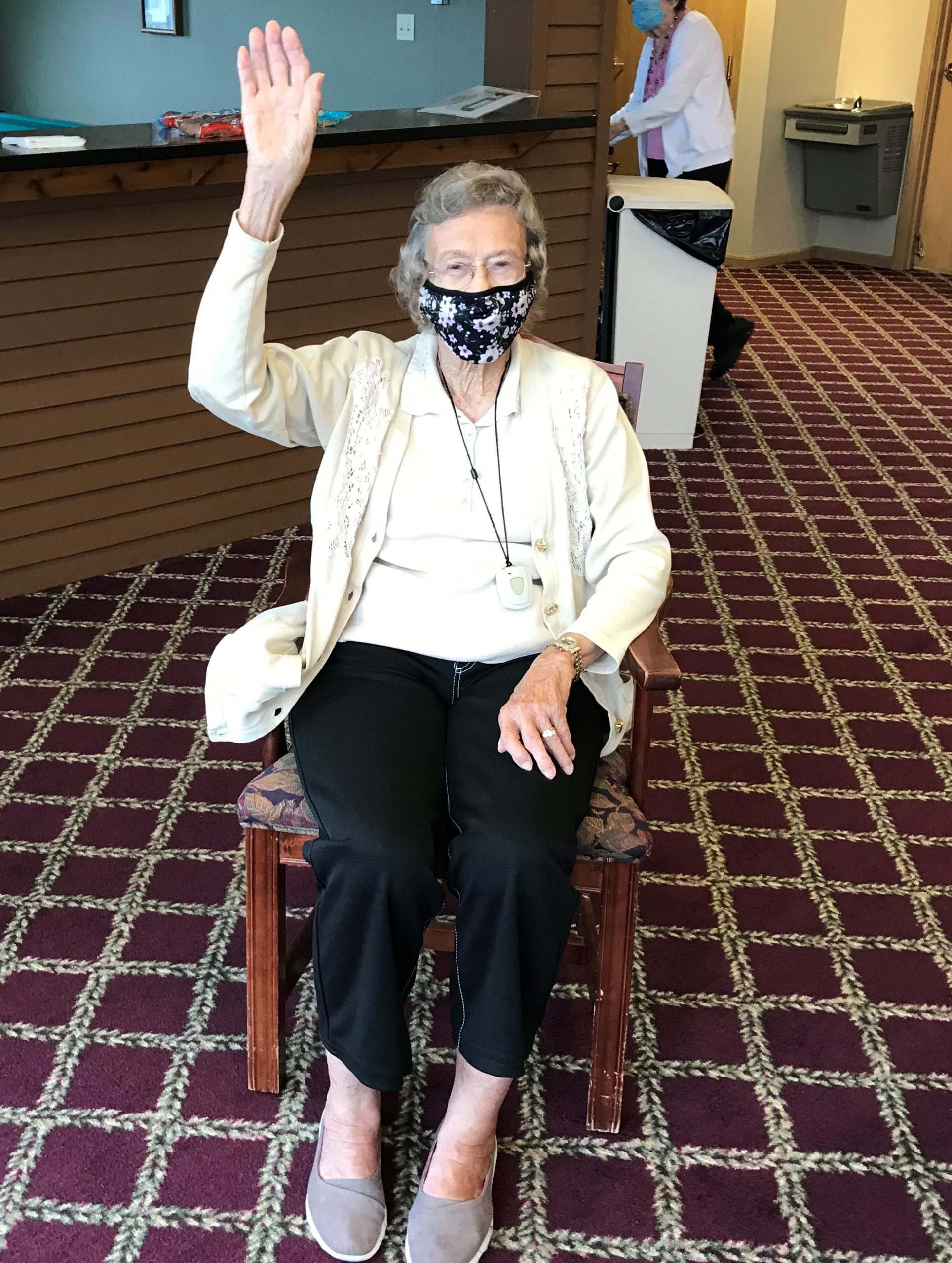 Norma wanted to wave Hi before exercises