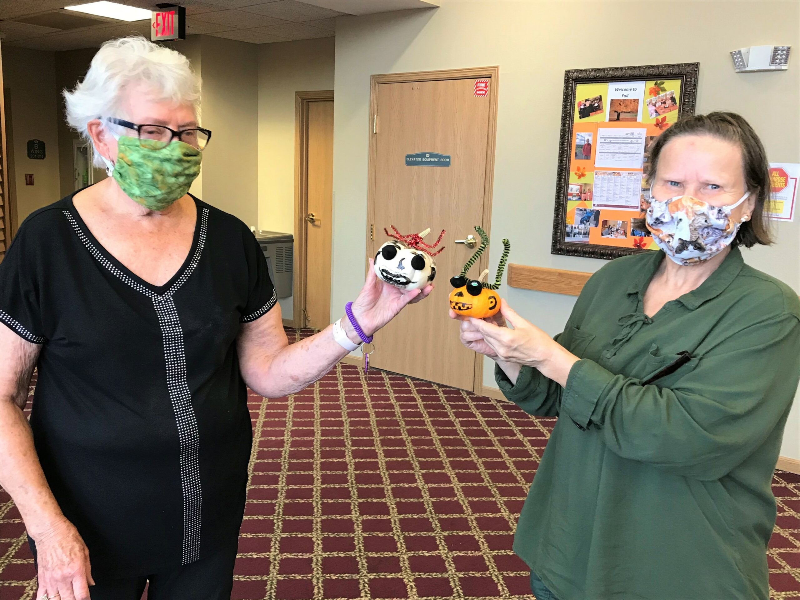 Marge & Sue painted a pumpkin for a Doctor with Heather C