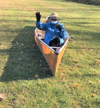 Jane celebrating her 97th Birthday in a canoe ! Pictures for Christmas Card.