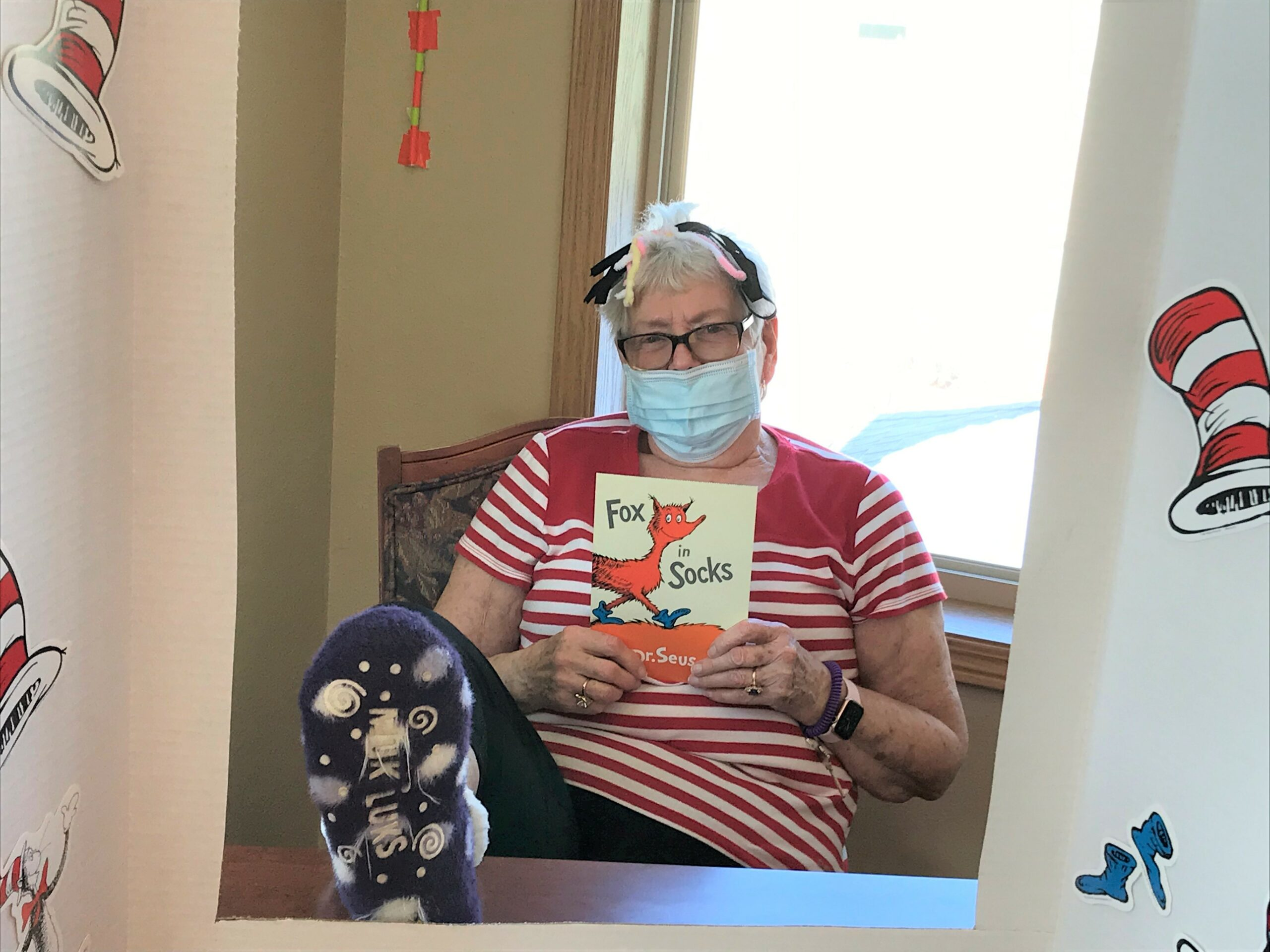 Marge having fun at Dr. Seuss Party!  Happy Birthday Dr. Seuss !!