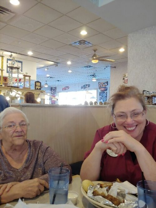 Shirley and Bev share laughs and fellowship during the monthly birthday dinner outing. This  month, we went to Tony's.