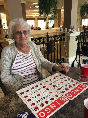 Nickel Bingo! you only need to have one card with a picture frame bingo but this time Wilma won with both cards!