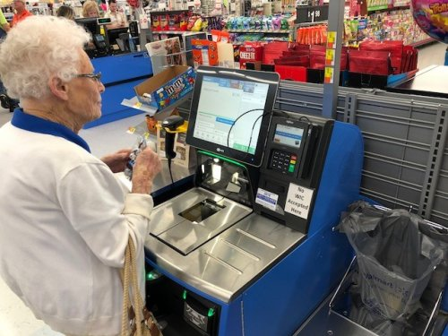 Joan tried something new today! The self checkout line at Walmart. She did great! don't ever be afraid of trying something new!