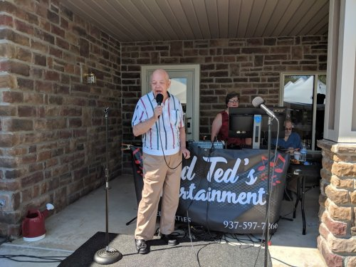 Dan C. belts out some karaoke tunes at our family picnic on September 15, 2018.
