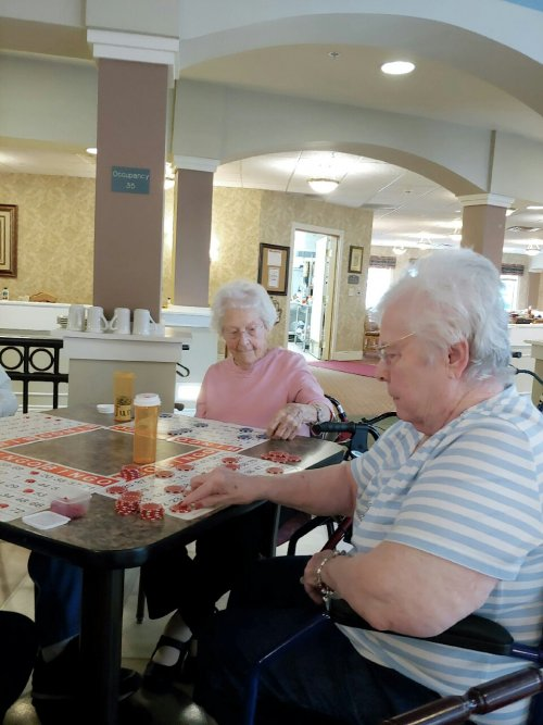 June and Margie's cards are 'set' for a possible bingo!