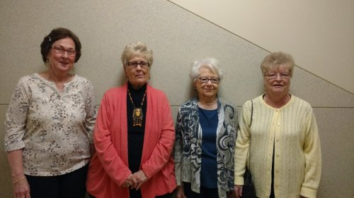 Sharon C (former Activities Aide), Nancy W (retired school nurse), Miriam K (physician's wife) and Connie S (retired trauma nurse) were part of a group that surprised nursing students at Findlay's Owens Community College Campus for Random Acts of Kindness Day on Feb. 15.