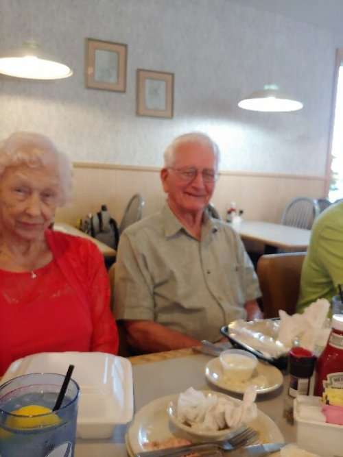Edna and Richard are all smiles during the monthly birthday dinner outing at Tony's.