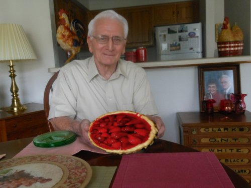 Richard and a picture perfect strawberry pie.