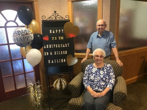 Ed and Eileen celebrated their 75th wedding anniversary with family and friends this past weekend. Their recipe for a happy marriage is respecting each other, being good friends, and having good manners towards each other