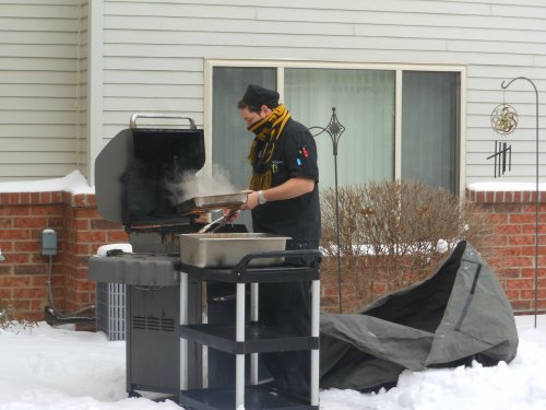 The -15 chill factor didn't stop Chef Brian from providing the residents with grilled chicken for lunch today!