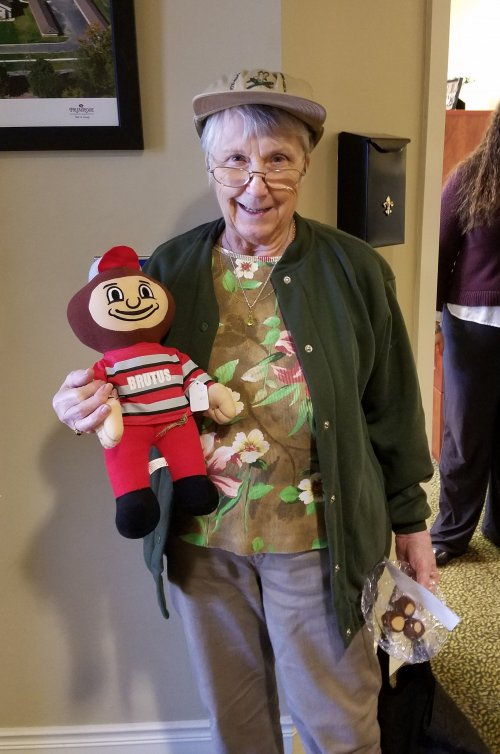WHERE'S BRUTUS?  Kay found Brutus Buckeye on the first day of Spirit Week. Each day the finder receives candy buckeyes in celebration of the Ohio State vs University of Michigan vs. game which is this Saturday, Nov. 25.
