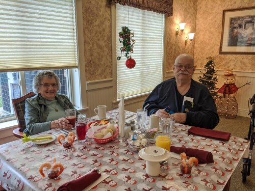 Rachel and Tom are all smiles at our special resident Holiday luncheon.