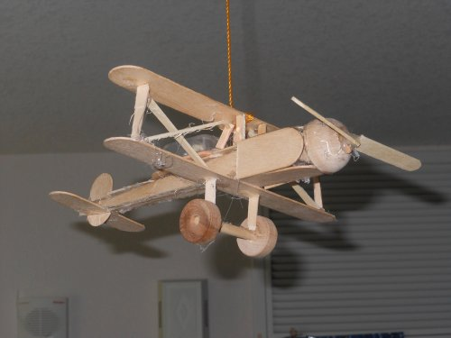 Popsicle stick airplane.