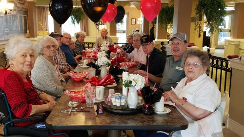 Joan B., Wilma and Raymond are among the 9 surviving graduates from the class of 1948. They celebrated their 70th Class Reunion at a luncheon in the café.