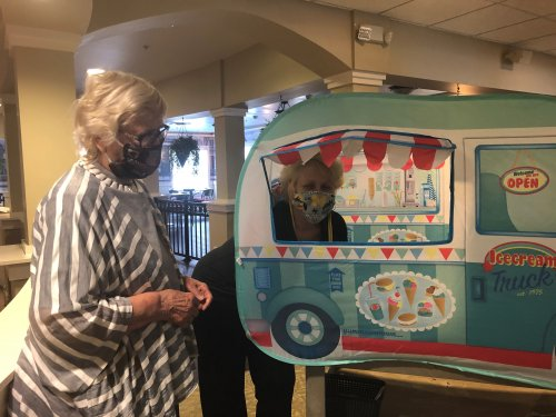 Residents enjoy when the ice cream truck travels the halls.