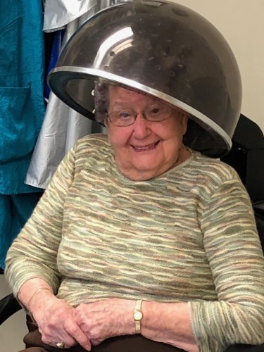 Fran loves her weekly hair appointment in the salon!