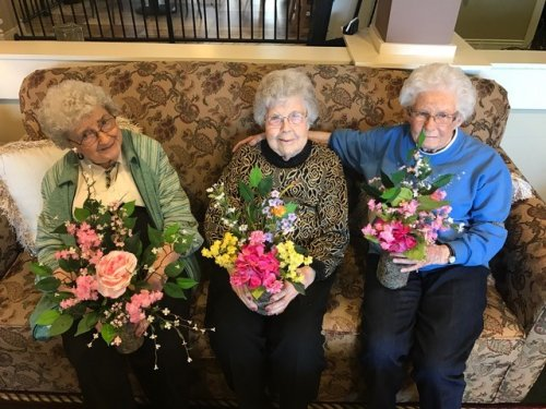 Max, Betty and Joan all adding a little spring  to their room décor. The next day it snowed 2 inches. Ohio weather always keeping us on our toes. Think Spring!!