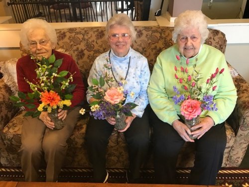 Doris, Marie, and Ruth all adding a little spring  to their room décor. The next day it snowed 2 inches. Ohio weather always keeping us on our toes. Think Spring!!