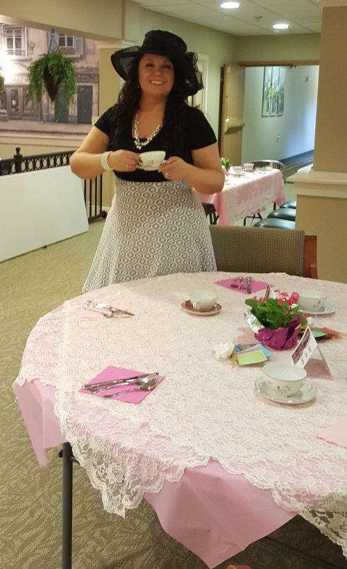 Our E.D. enjoying a cup of tea at our Mother's Day brunch.