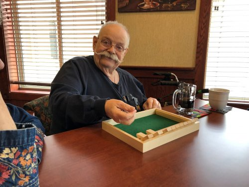 Our new favorite game!  Shut the box!