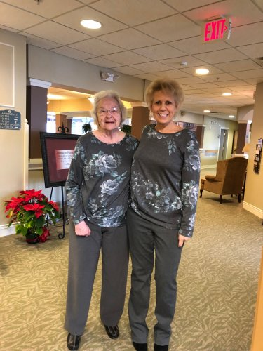 Resident Patsy and LEC Stephanie got the same blouse from Santa this year.