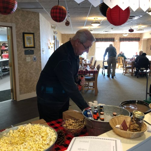 Don enjoyed mixing 'Moose Munch' for our Lumberjack luncheon