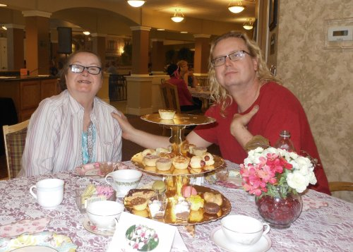 Clark enjoys some time with his Mom, Sharon, at the Mother's Day Tea.