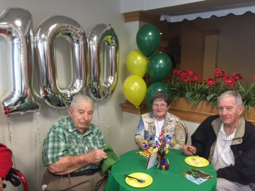 Earl 'Stub' turned 100! We had a birthday celebration with cake and ice cream and Polka dancers to surprise him!