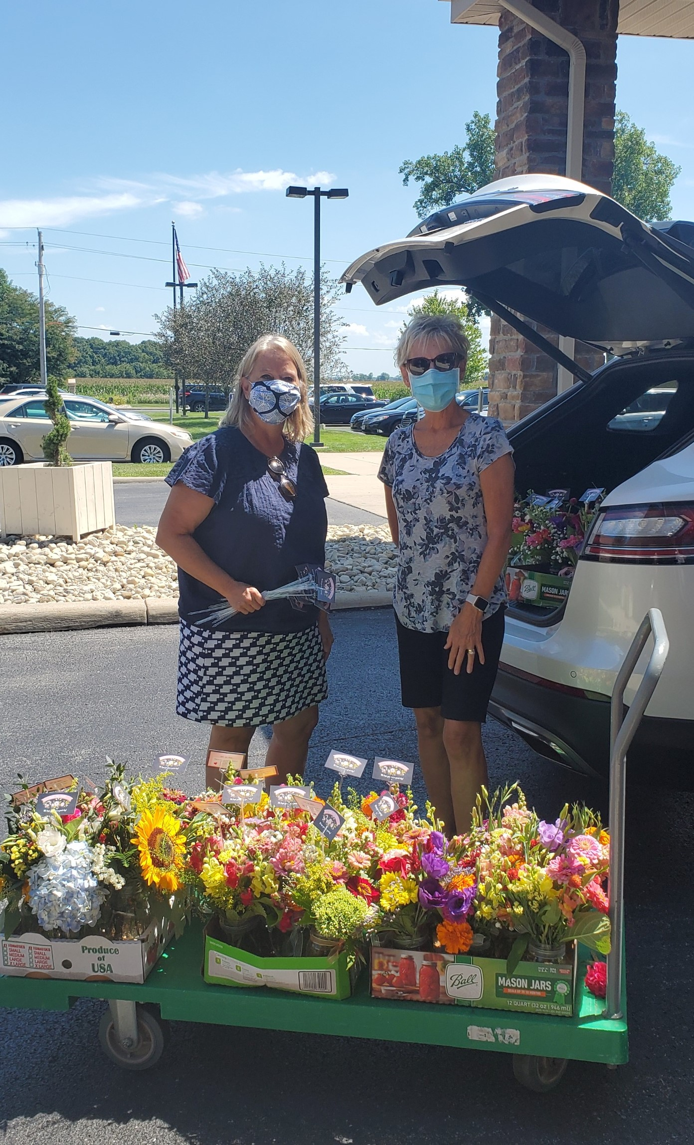 These wonderful ladies made and donated arranged flowers to all residents