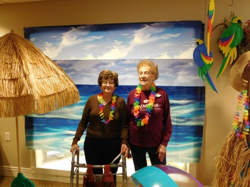 Marge and Darlene all decked out for our 'Sip and See' event.