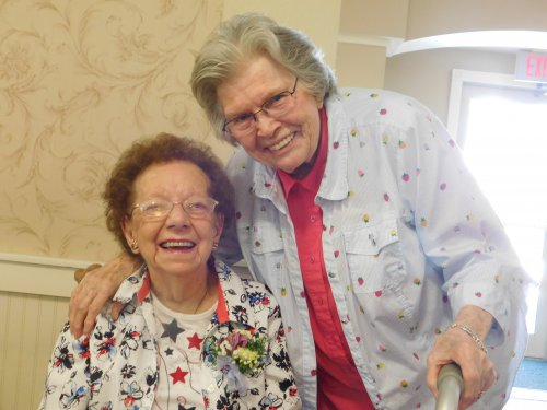 Long time friends, Elaine and Bonnie share a special time together as Elaine, our Primrose Matriarch (Independent Living) celebrates her 99th birthday!  She is amazing!