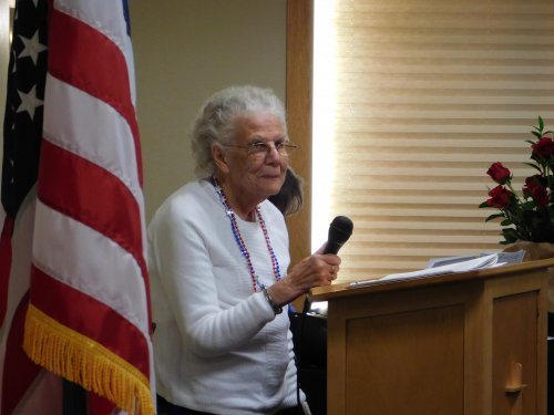 Resident Clara shares her beautiful singing voice at Grand Island's Veterans' Program.