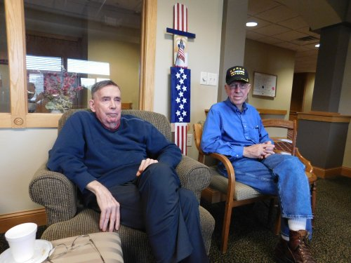 Primrose Veterans, Dick and Harold, along w/ 'Uncle Sam' enjoy a time of reflecting at our monthly Veterans' gathering.