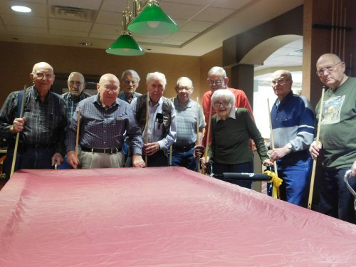 Wednesday's Pool Tournament is the place to be at Grand Island's Primrose!  What fun these Primrose family members have in a friendly competition.