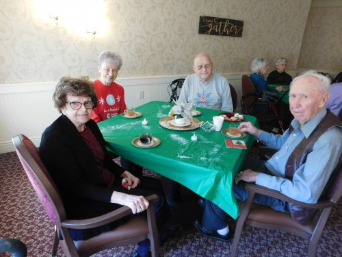 Marge, Kathy, Bob, and Elton enjoy 'A Cup of Christmas Tea'. . . the story, the goodies, and time w/ the Primrose 'Family'!