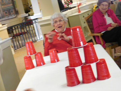 Betty having fun with a recent party game.